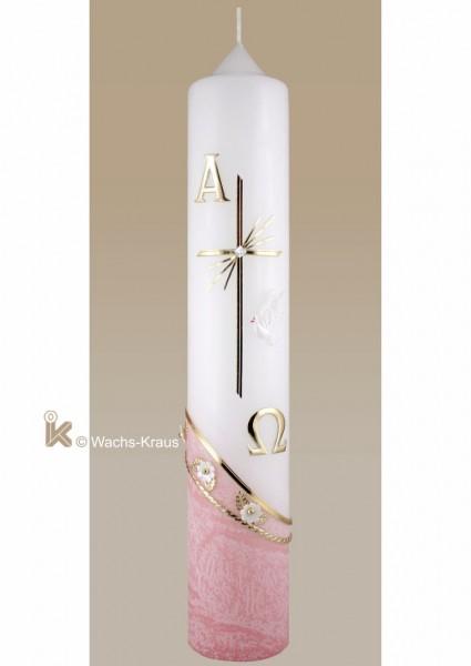 Moderne Taufkerze mit flüssigem Wachs überzogen, rosa