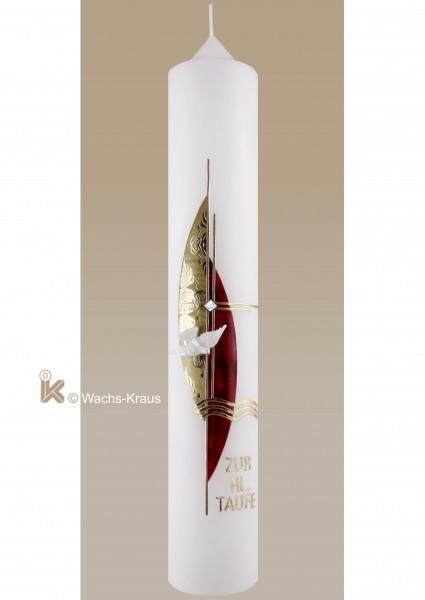 Taufkerze in edlem Design, Mädchen, geprägte Goldplatte