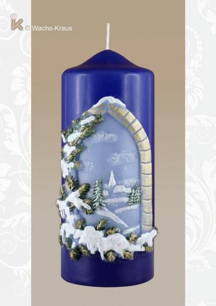 Weihnachtskerze Winterlandschaft, blau