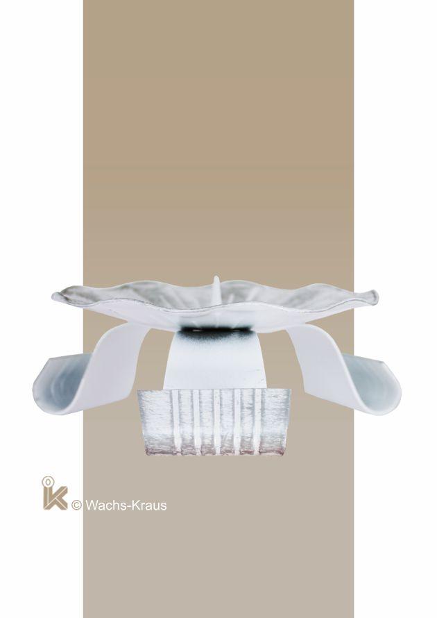 Kerzenständer Metall für Taufkerzen, silber-weiß Ø 100mm, seitlich