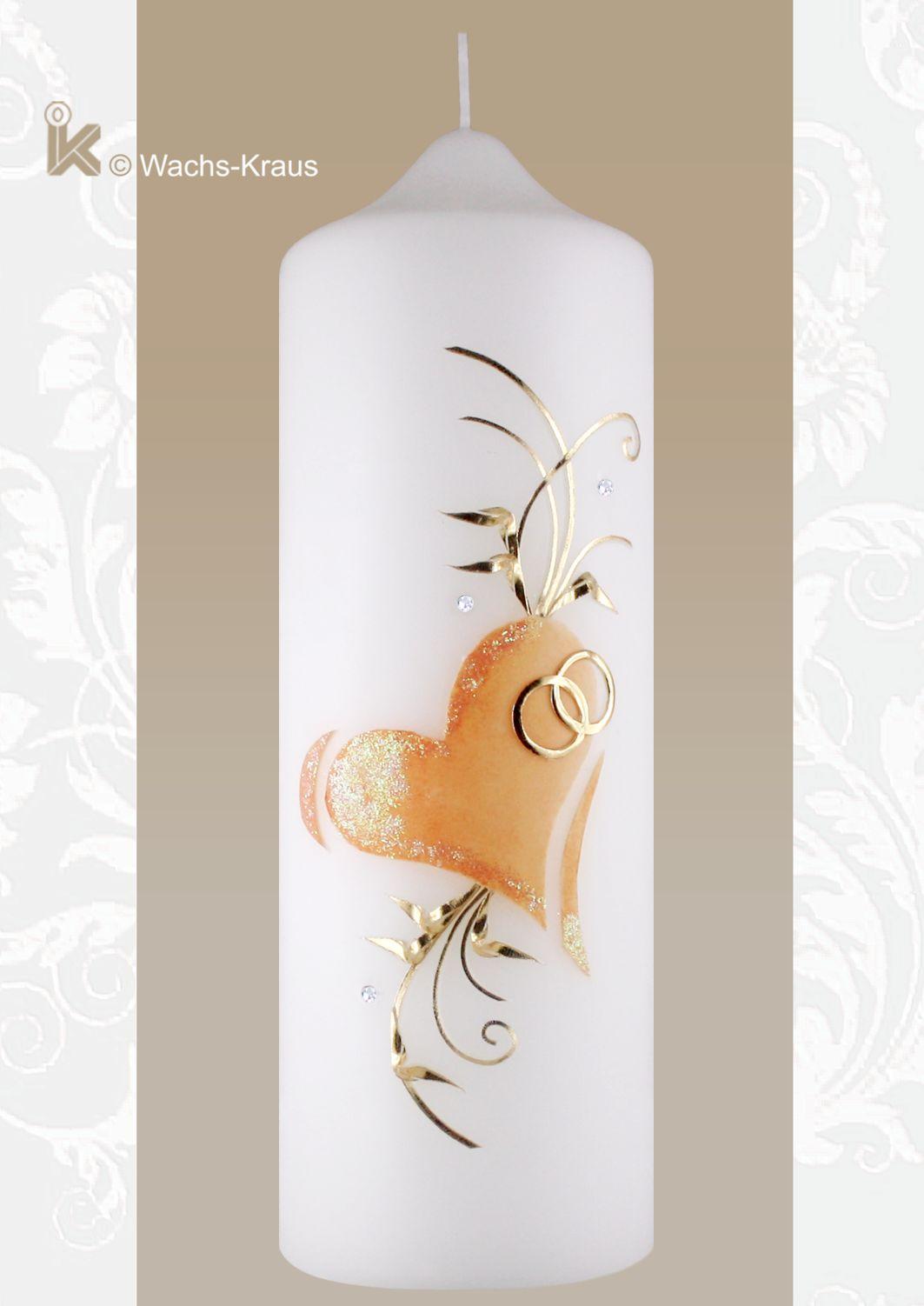 Hochzeitskerze mit apricotfarbenem Kreuz und goldener Verzierung