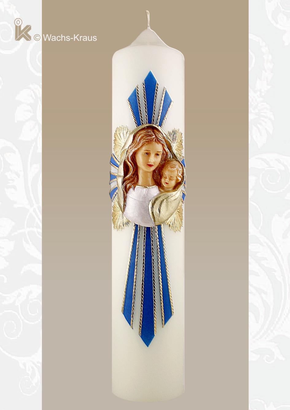 Gütiger und wohlwollender kann man Gesichter nicht modellieren. Wunderschön gearbeitete Maria mit Kind in einem Strahlenkreuz.
