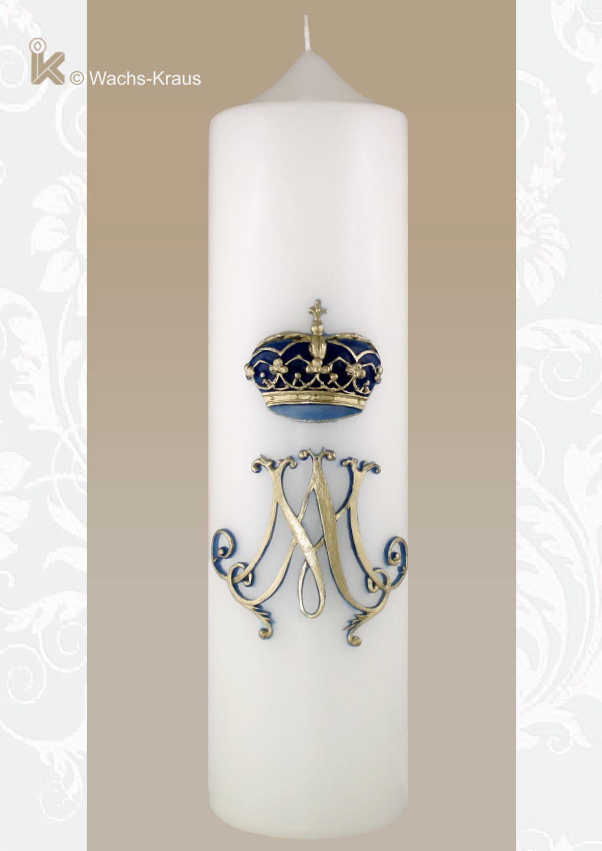 Marienkerze Krone und Monogramm aus Wachs gegossen
