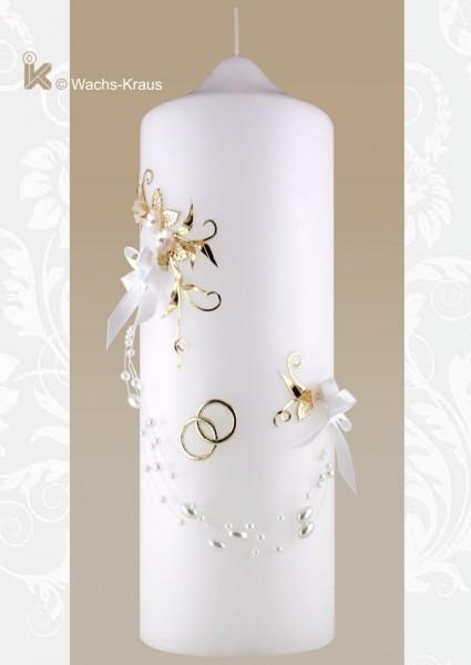 Hochzeitskerze für glückliche Romantiker, zart verziert mit Ringen