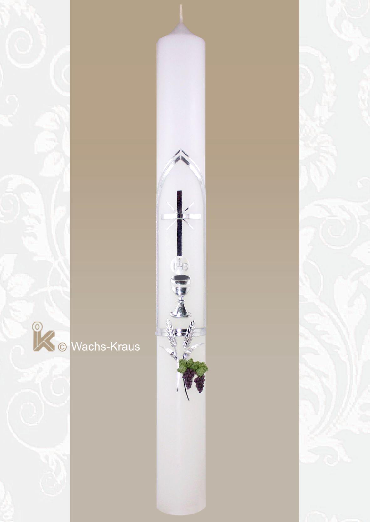 Kommunionkerze Silber, Kirchenfenster, Kreuz, Kelch mit Hostie