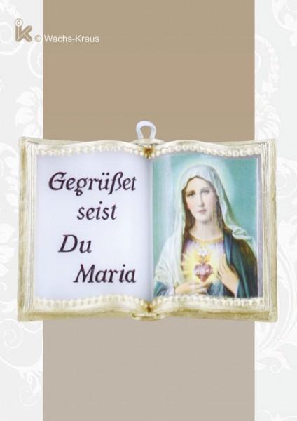 Wachsbuch Gegrüßet seist Du Maria mit Herz-Maria-Bild