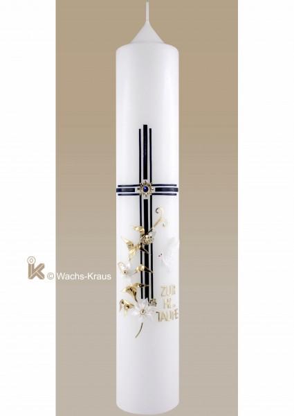Hochwertige Taufkerze Junge, blaues Kreuz 3fach gelegt mit Stein, goldene Ranke, Taube