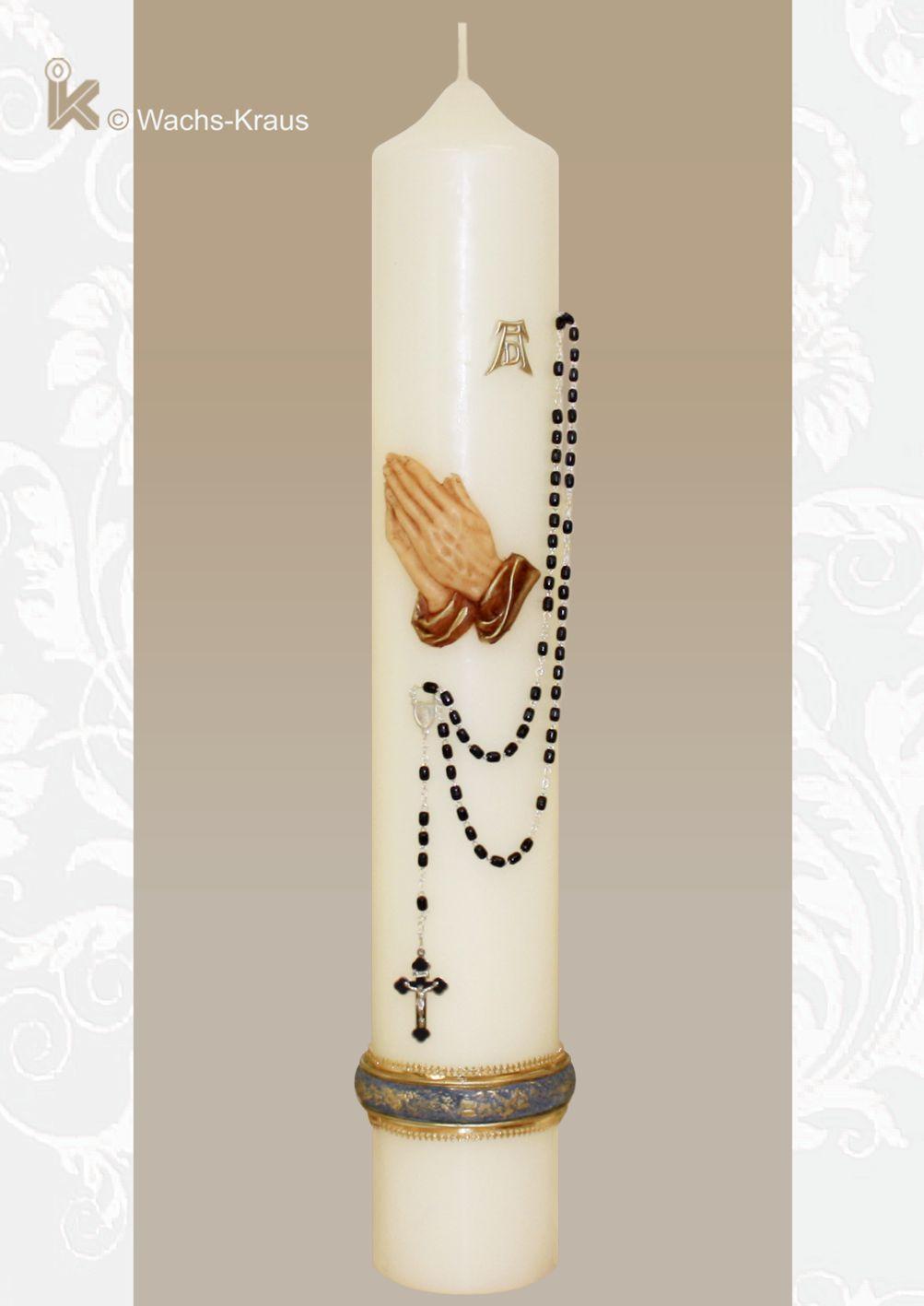 Trauerkerze betende Hände mit einem echten, großen schwarzen Rosenkranz. Bringen Sie Ihre Trauer würdevoll zum Ausdruck.