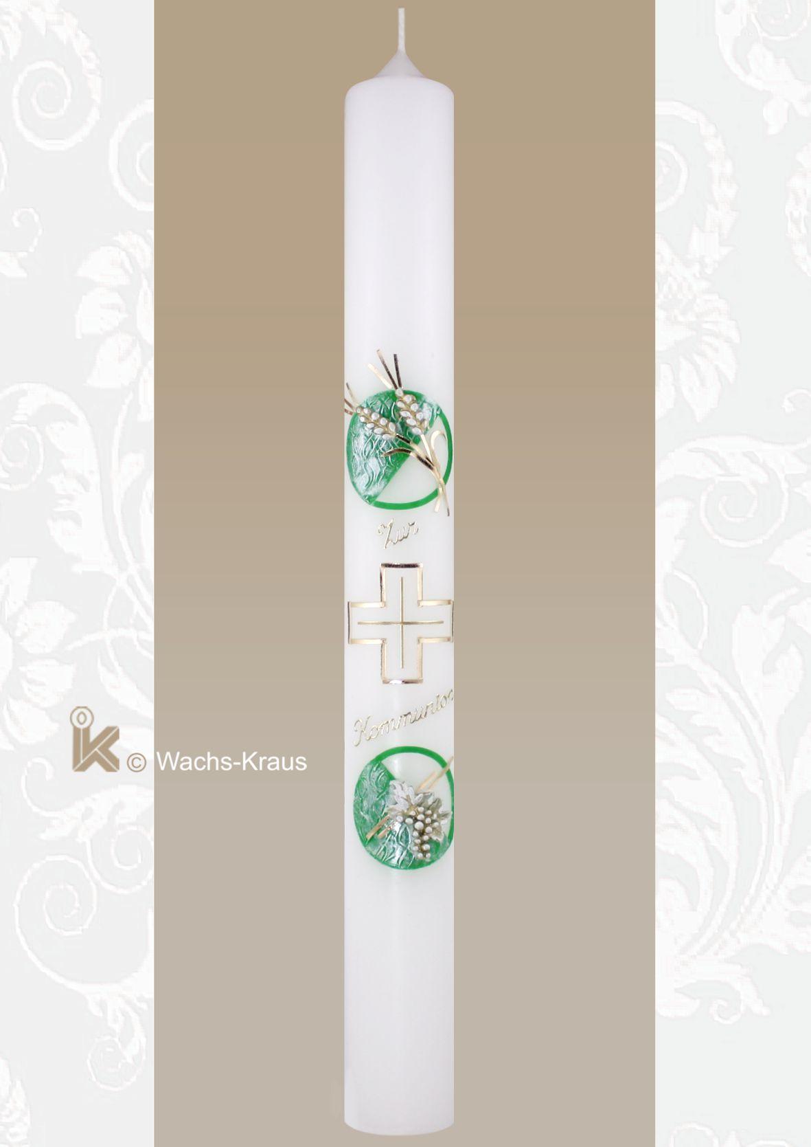 Kommunionkerze Ähren, Kreuz, Trauben, grün-gold