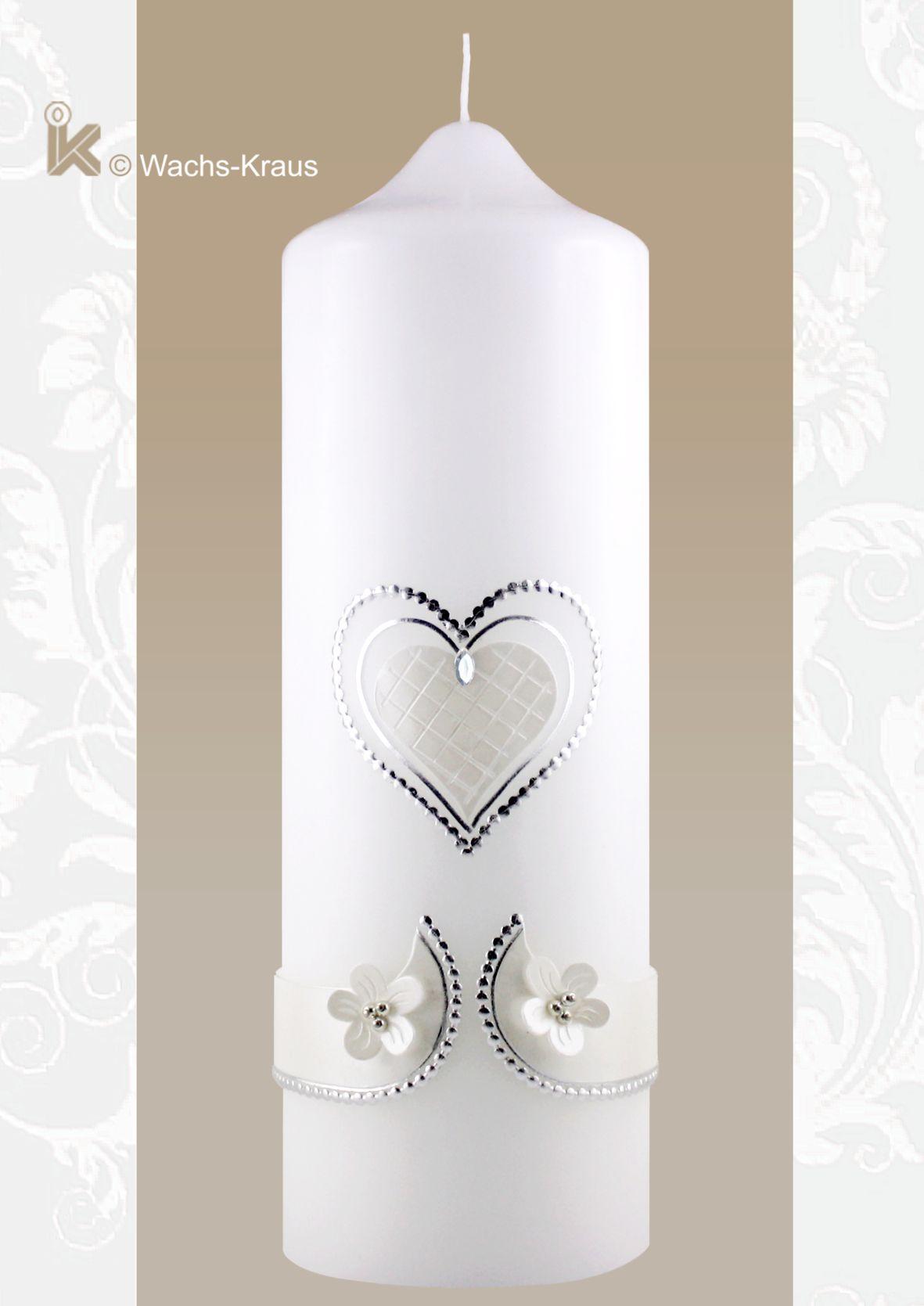 Vintage-like. Hochzeitskerze klassisch Herz weiß-silber