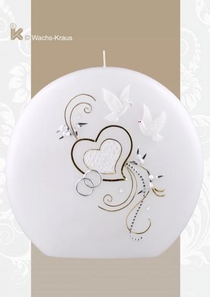 Hochzeitskerze in Diskus-Form mit zwei aus Wachs gegossenen Tauben, zwei Herzen, einer Silber und goldfarbenen Verzierung sowie silberfarbenen Ringen