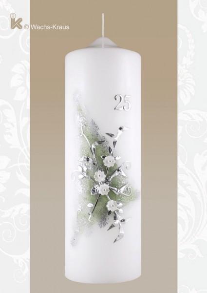 Kerze zur Silberhochzeit, Blumenstrauß grün-silber unterlegt