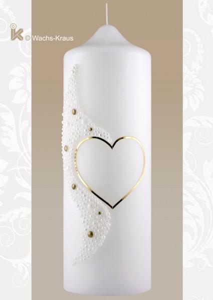 Hochzeitskerze Perlen Gold. Diese Hochzeitskerze mit einem aus Wachs gegossenen Relief in Perleoptik ist bezaubernd schön und elegant.