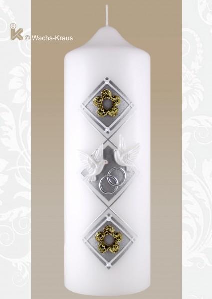 Moderne Hochzeitskerze, weltlich, gold und silber