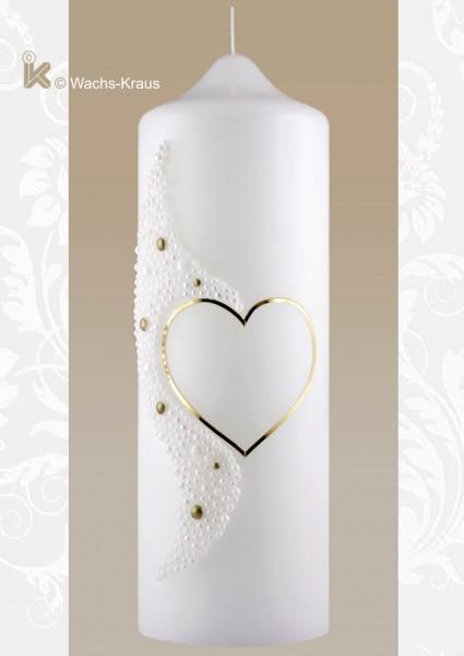 Für Verliebte, Hochzeitskerze Perlenherz gold