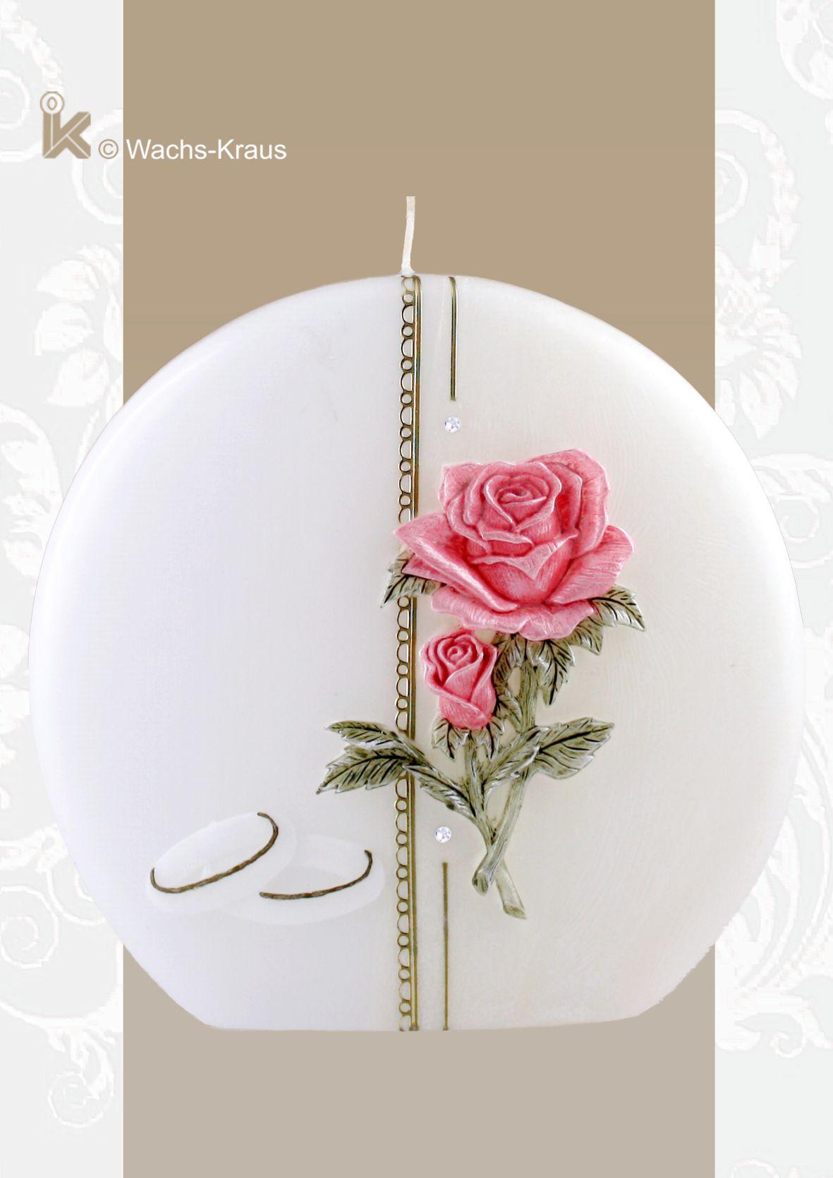 """Hochzeitskerze mit dem """"wow-Effekt"""" mit aus Wachs gegossener Rose"""