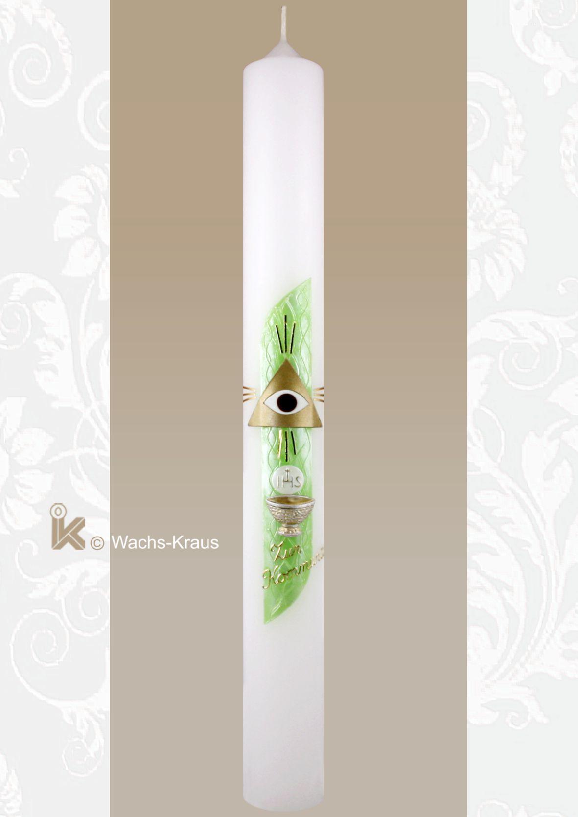 Kommunionkerze das Auge Gottes, grün
