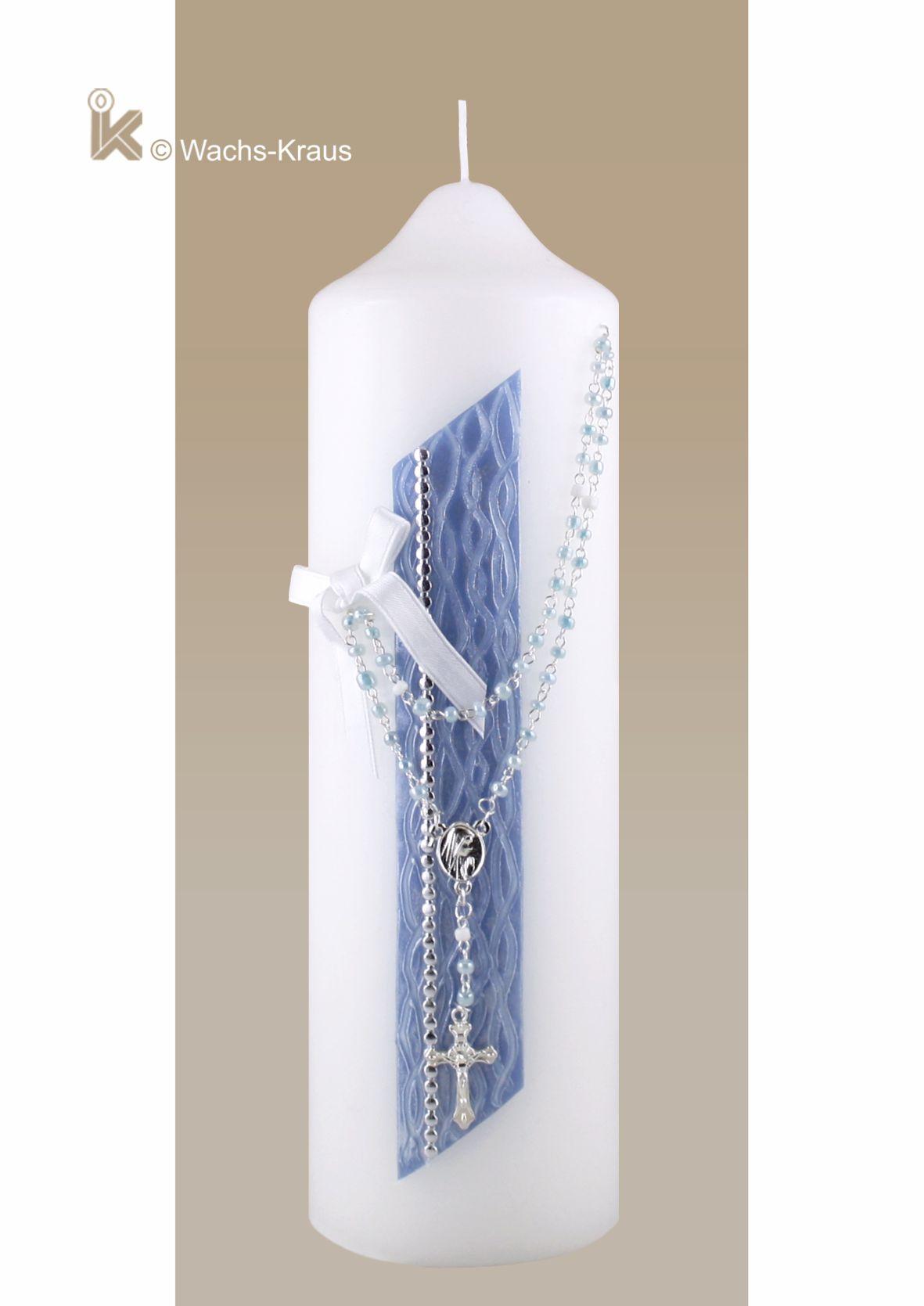 Patenkerze passend zur Taufkerze perlmutt-blaue Strukturwachsplatte mit echtem Rosenkranz.