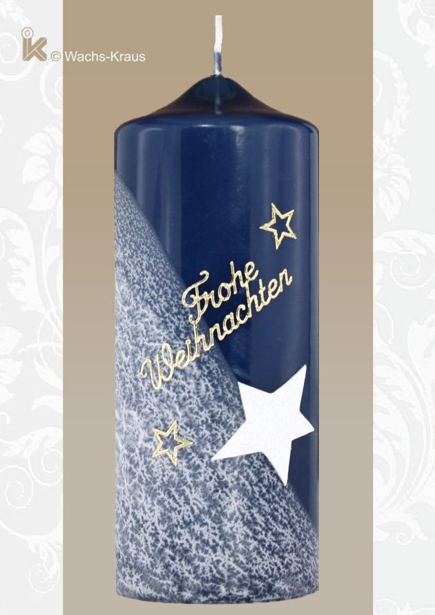 Adventskerze dunkelblau, Stern. Farbe und Licht in der Dunkelheit