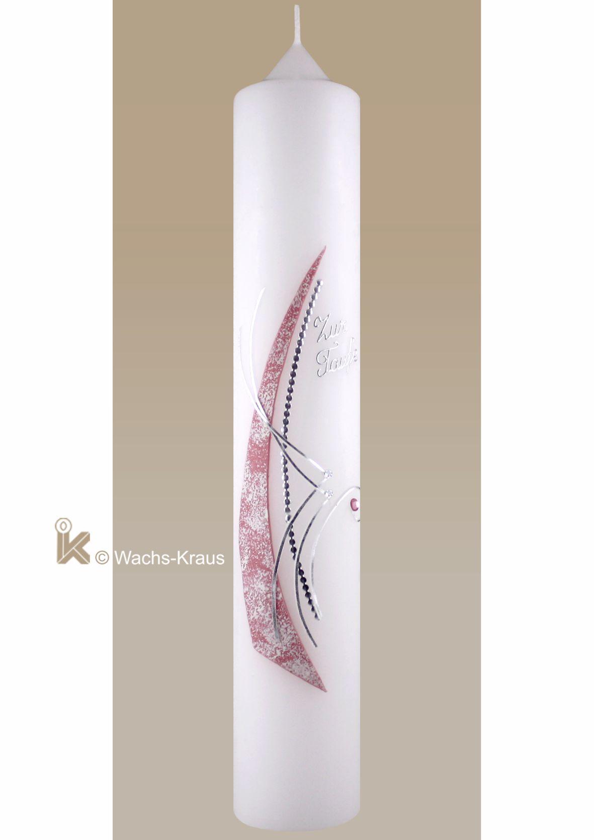 Moderne Taufkerze rosa-silber mit Strasssteinen