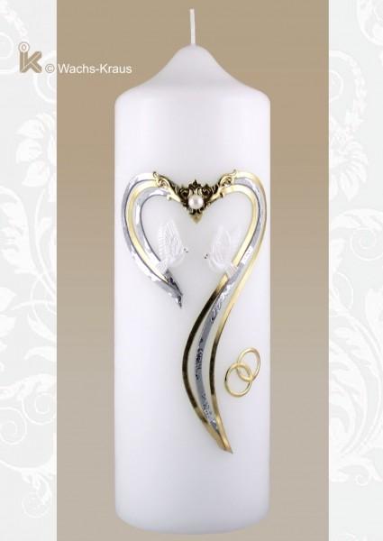 Exklusive Hochzeitskerze modernes Herz in Gold-Silber