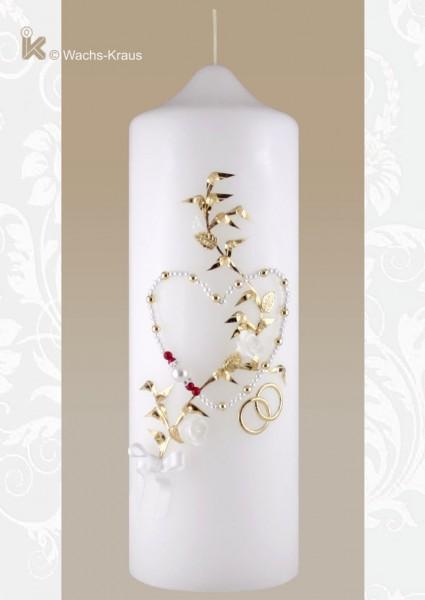 Hochzeitskerze Perlen-Herz rot-weiß, wunderschön verspielt