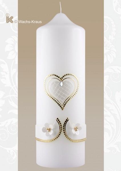 Ein Hauch von Vintage: Hochzeitskerze Herz klassisch weiß