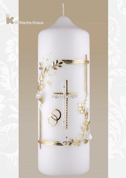 Hochzeitskerze edel und aufwändig verziert, Perlen-Kreuz mit Umrandung, Blumen-Ranke