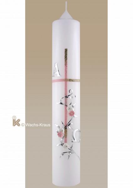 Taufkerze Mädchen klassisch, silber-rosa, Kreuz, alpha und Omega, Blüten