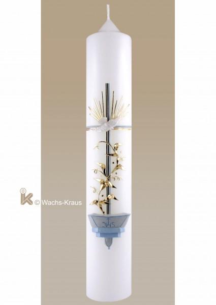 Taufkerze Taufbecken, gold-blau für Jungen. Ein aus Wachs gegossenes Taufbecken, Kreuz, Taube und Blumenranke