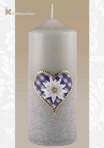 Bayerische Kerze mit Herz und Edelweiß, blau
