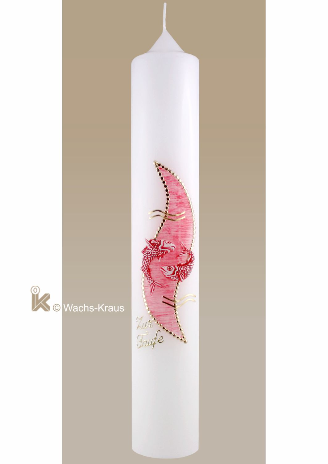 Taufkerze Fische, rosa für Mädchen