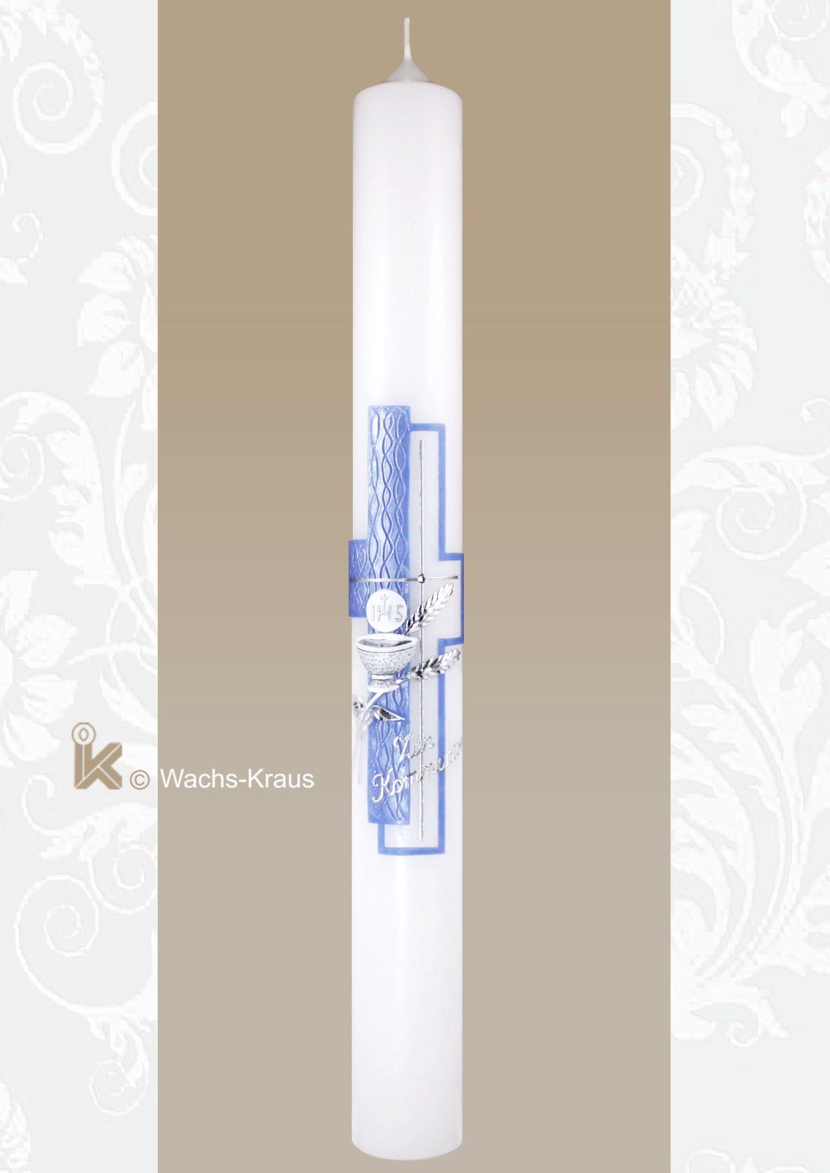Kommunionkerze blau-Silber, Ähren und Kelch
