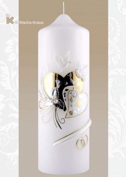 Wunderschöne Hochzeitskerze zwei Herzen silber-gold
