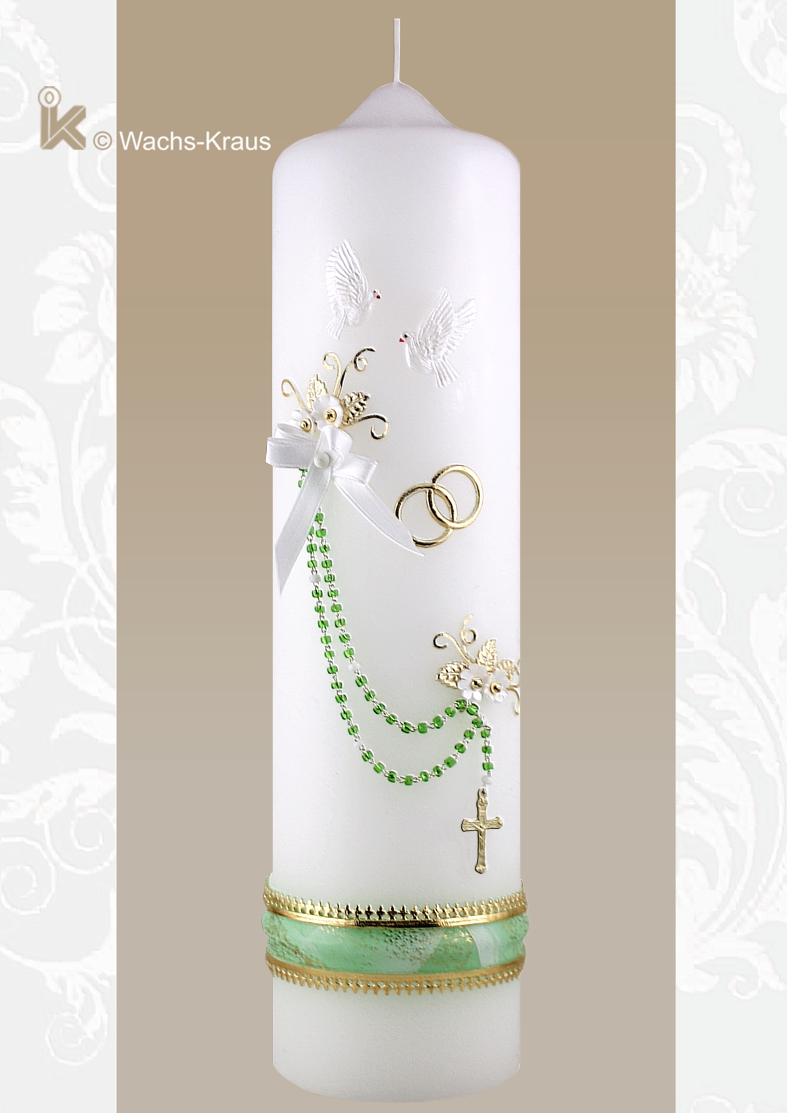 Brautkerze im Vintage Look mit echtem Rosenkranz, zarten goldenen Blättern mit weißen Blüten, goldenen Ringen. Nicht nur etwas für Nostalgie-Fans