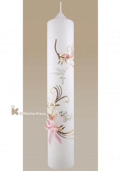 Taufkerze für Mädchen, Blumenranke mit rosa und weißen Blüten, Swarovski Strasskreuz, Schriftzug und Schleife