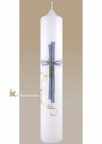 Taufkerze modern für Jungen, gestuftes Kreuz mit Borten blau gold