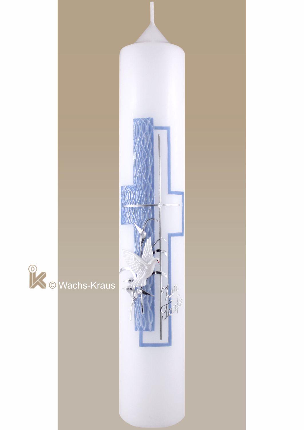 Taufkerze modern Perlmutt-blau-silber, Kreuz, Taube