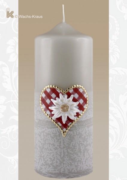 Bayerische Kerze mit Edelweiß, Herz rot