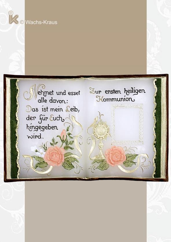 Ein wunderschönes Geschenk mit bleibendem Erinnerungswert. Wachsbuch zur 1. hl. Kommunion für Mädchen.