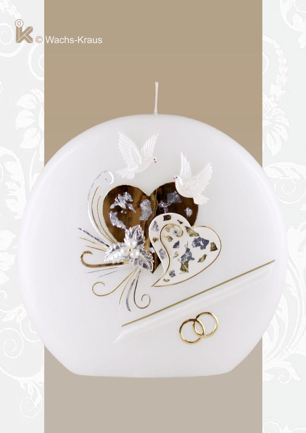 Wunderbar verspielt: Hochzeitskerze zwei Herzen, Gold-Silber, Scheibe