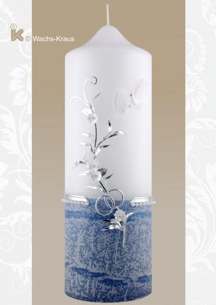 Hochzeitskerze blau Silber