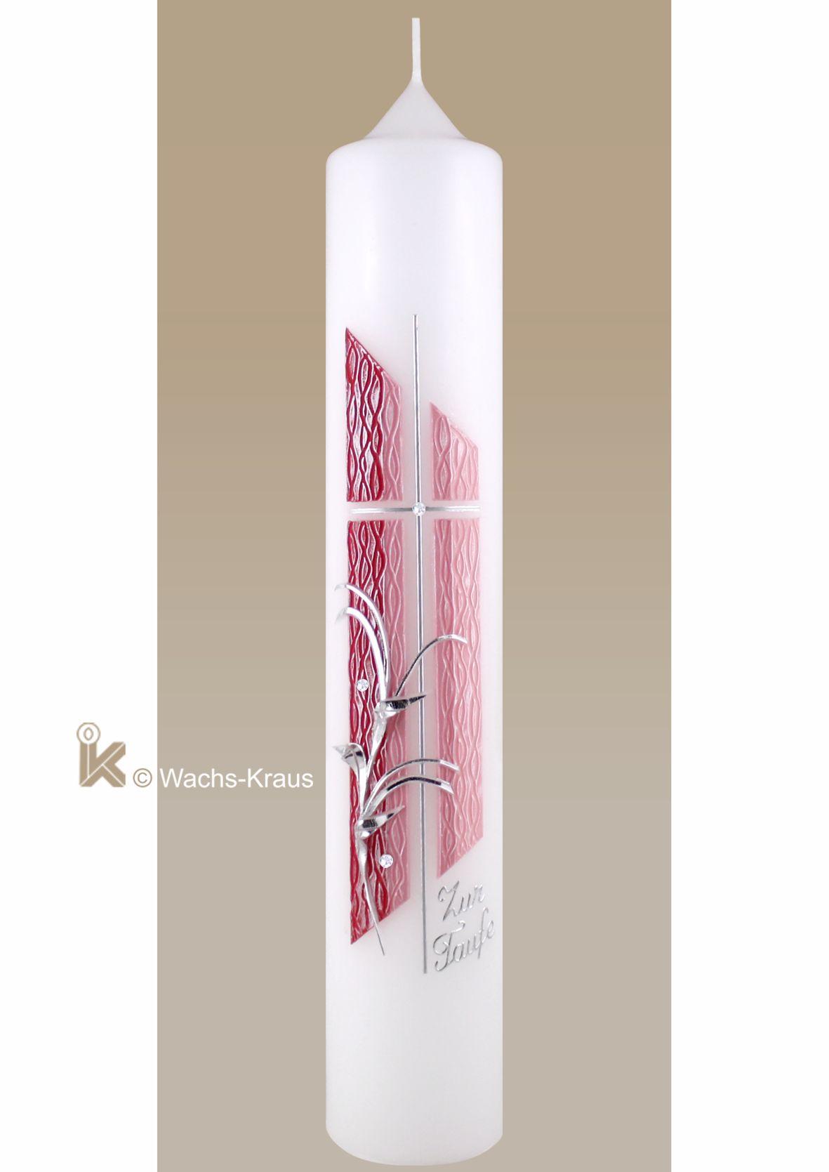 Modernes Design: Taufkerze Mädchen verlaufend rosa zartes Kreuz silber