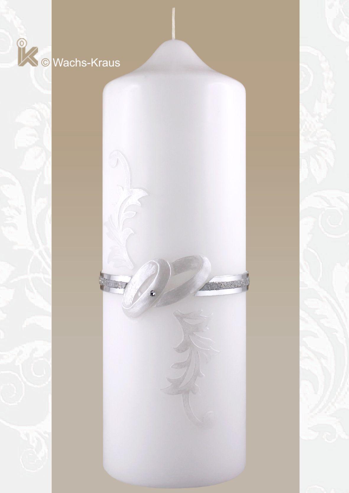 Hochzeitskerze. Das Motiv wie hingehaucht in zartem Grau und Silber