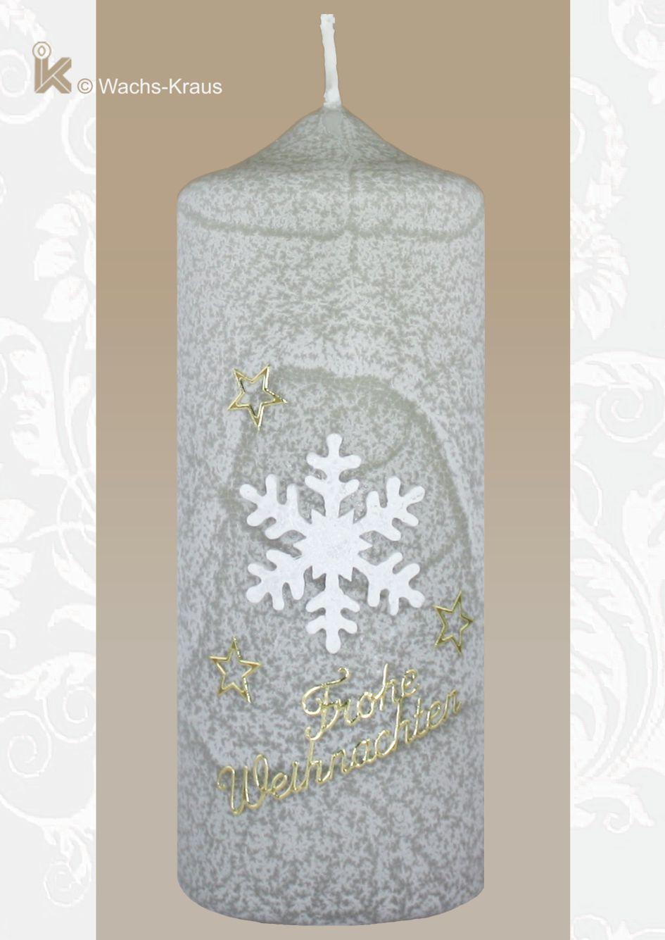 Weihnachtskerze Schneeflocke, grau....ein tolles Geschenk.