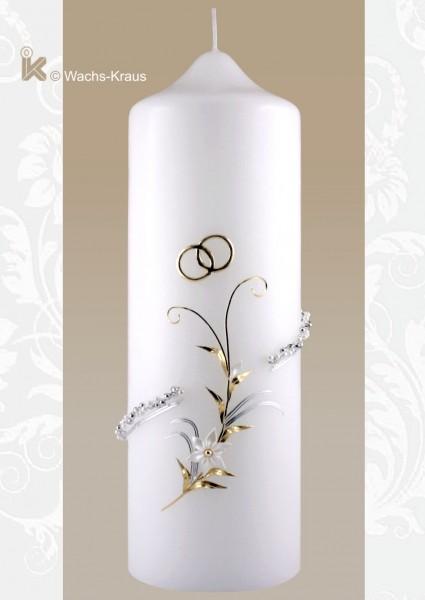 Hochzeitskerze bicolor mit Perlen-Kordel, super fein verziert.