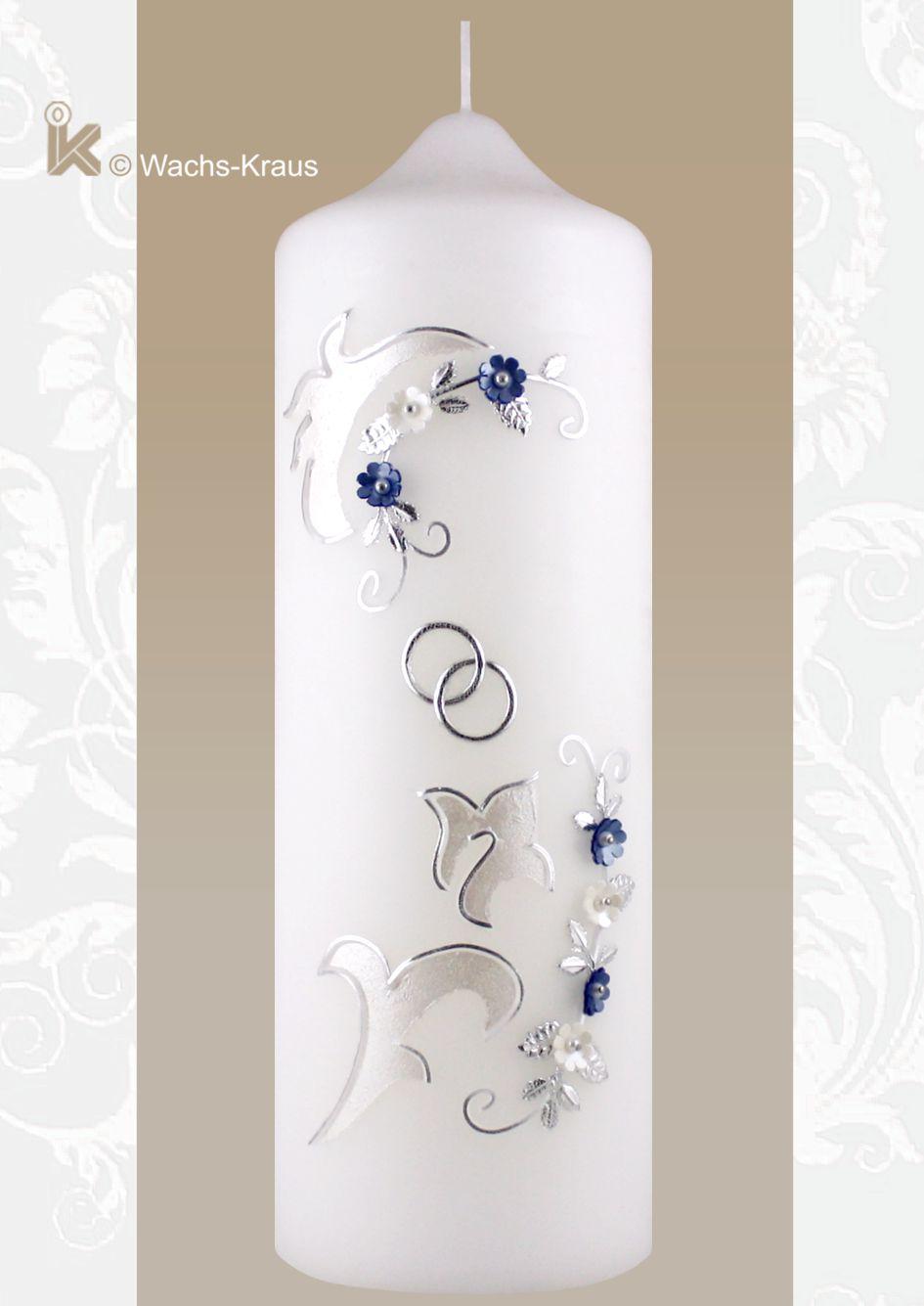Hochzeitskerze Vintage Style, Verzierung in siber und blau