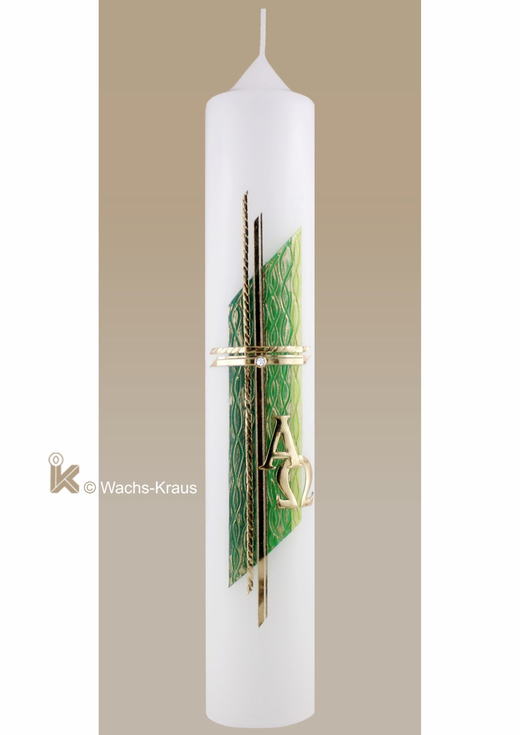 Taufkerze modern, Goldenes Kreuz auf grüner Strukturwachsplatte