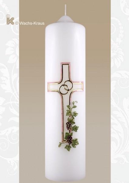 Hochzeitskerze klassisch, Weinrebe und Kreuz