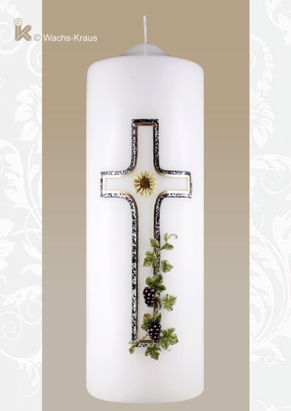 Stilvolle Trauerkerze Kreuz und Efeu